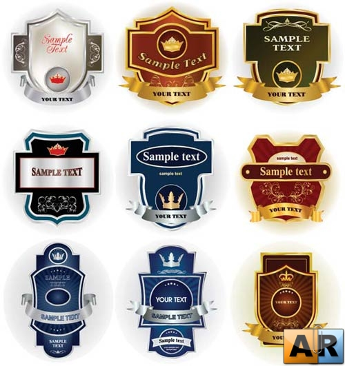 Various Labels Vector Clipart