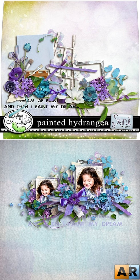 Scrap kit  Painted Hydrangea