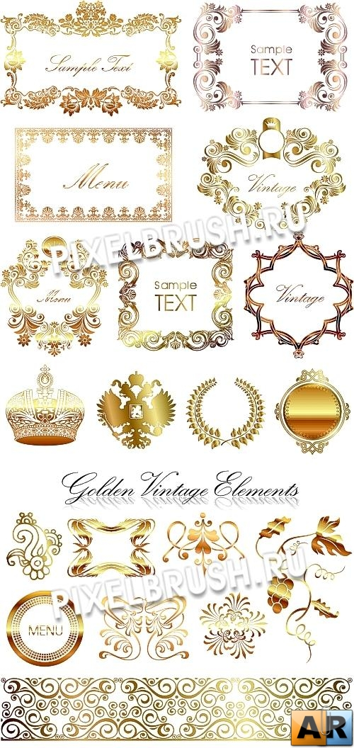 2 Golden Vintage Elements - Vector