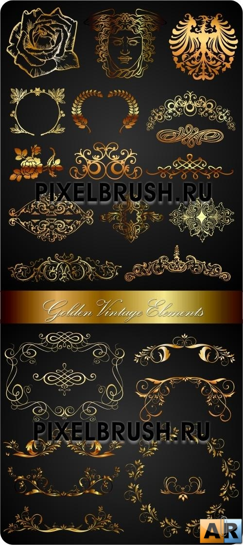Golden Vintage Vector Elements