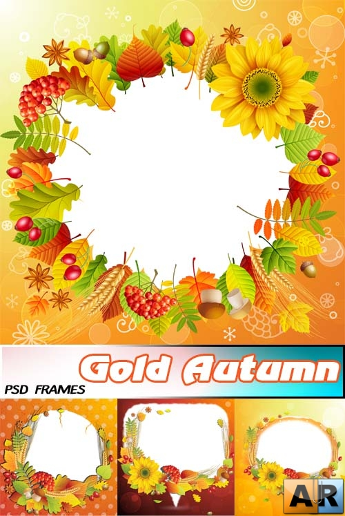 Осенняя Золотая | Gold Autumn (psd layered frames)
